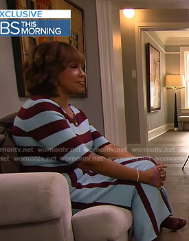Gayle's blue and brown striped knit dress on CBS This Morning