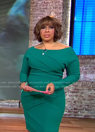 Gayle's green seamed long sleeve dress on CBS This Morning
