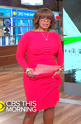 Gayle's red long sleeve dress on CBS This Morning