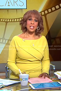 Gayle's yellow pleated long sleeve dress on CBS This Morning