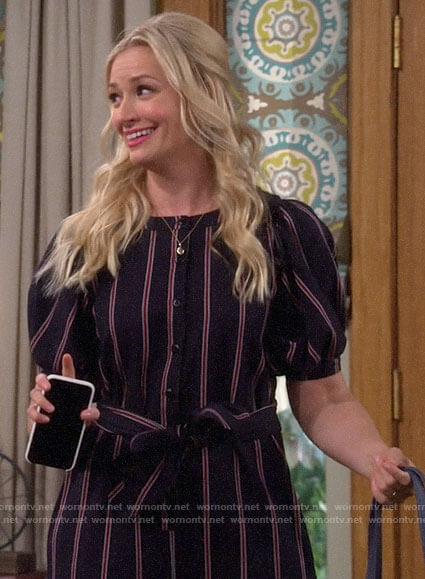 Gemma's striped jumpsuit on The Neighborhood