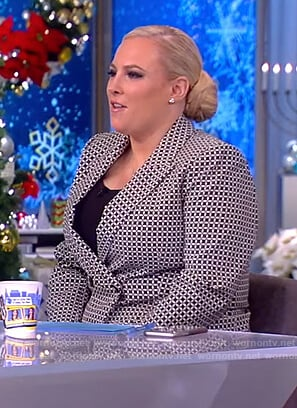 Meghan's geometric print blazer and pants on The View