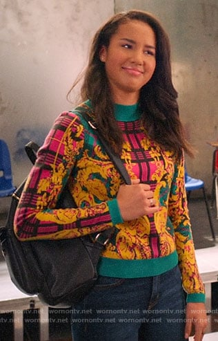 Gina's mixed print sweater on High School Musical The Musical The Series