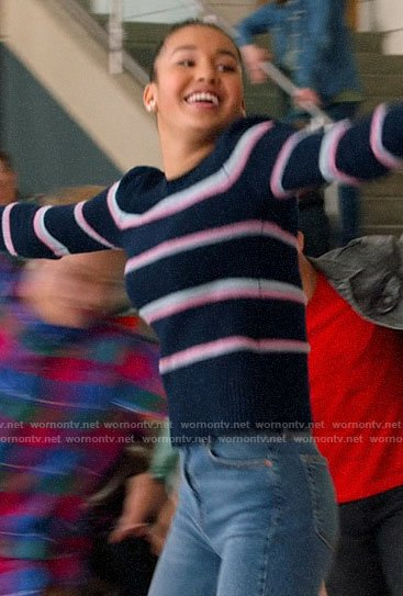 Gina's navy and pink  striped sweater on High School Musical The Musical The Series