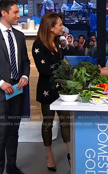 Ginger's black star blazer and metallic pants on Good Morning America