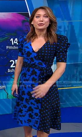 Ginger's blue polka dot and floral print wrap dress on Good Morning America