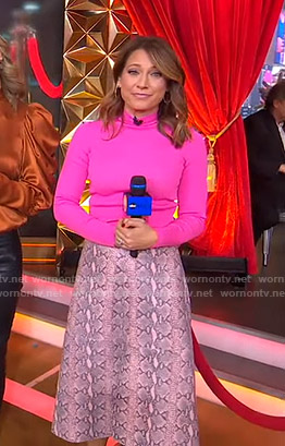 Ginger's pink turtleneck sweater and snakeskin print skirt on Good Morning America