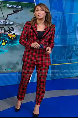 Ginger's red plaid suit on Good Morning America