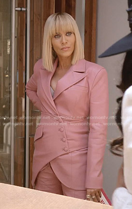 Giselle's pink asymmetric leather suit on Empire