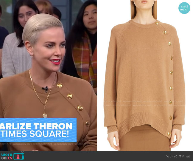 Button Side Wool Sweater by Givenchy worn by Charlize Theron on GMA