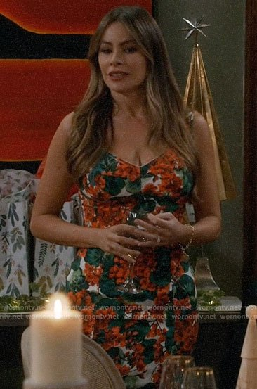 Gloria's floral Christmas dress on Modern Family