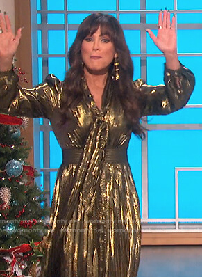 Marie's gold metallic tie dress on The Talk