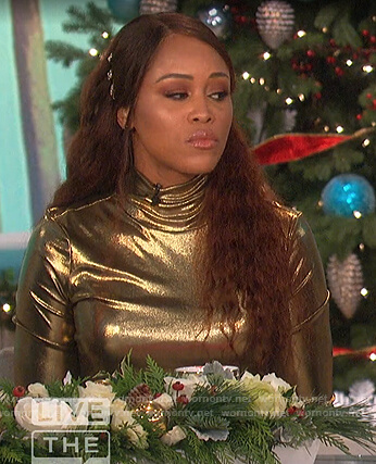 Eve's gold metallic top on The Talk