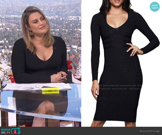 Deep V Leopard Long Sleeve Body-Con Dress by Good American worn by Carissa Loethen Culiner  on E! News