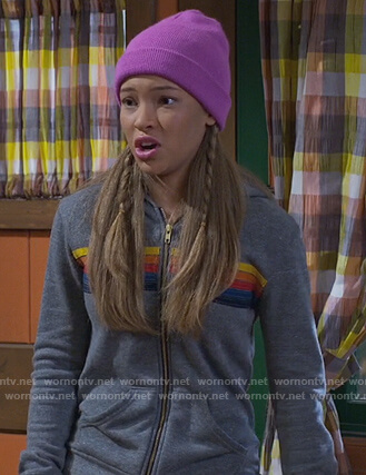 Ava's grey striped hoodie on Bunkd