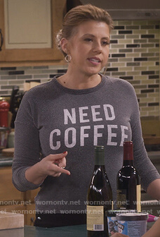 Stephanie's gray Need Coffee sweater on Fuller House