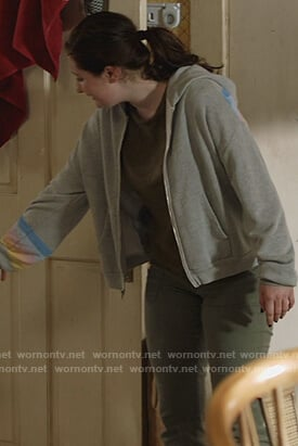 Debbie's gray rainbow stripe hoodie on Shameless