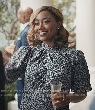 Daisy's green floral twist dress on Madam Secretary