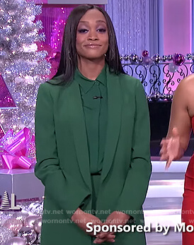 Rachel Lindsay's green blazer and shirt on The Real