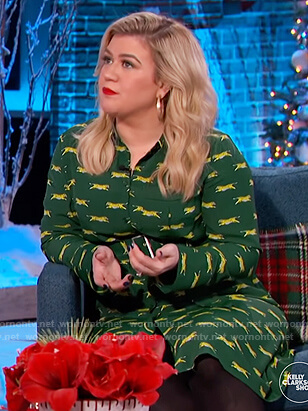 Kelly's green tiger print shirtdress on The Kelly Clarkson Show