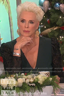 Brigitte Nielsen's green lace sleeve dress on The Talk