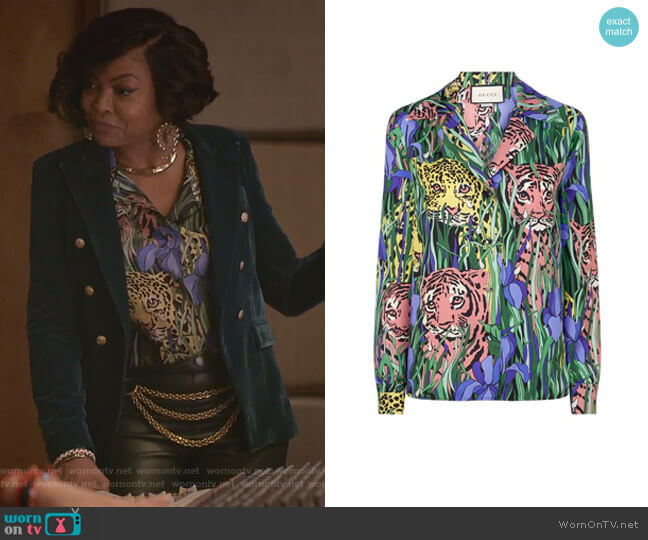 Feline Garden Print Silk Twill Blouse by Gucci worn by Cookie Lyon (Taraji P. Henson) on Empire
