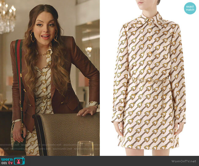 Stirrups Print Silk Twill Dress by Gucci worn by Fallon Carrington (Elizabeth Gillies) on Dynasty