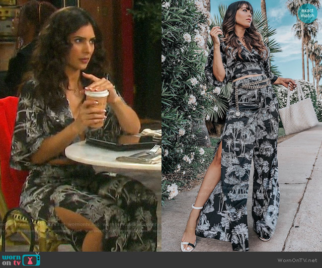 Guess Shay Tie Front Top and Palazzo Pants worn by Gabi Hernandez (Camila Banus) on Days of our Lives