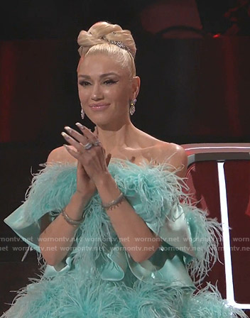 Gwen Stefani's blue feather mini dress on The Voice