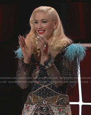 Gwen Stefani's embellished floral dress on The Voice