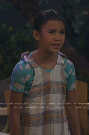 Gwen's plaid overalls on Bunkd