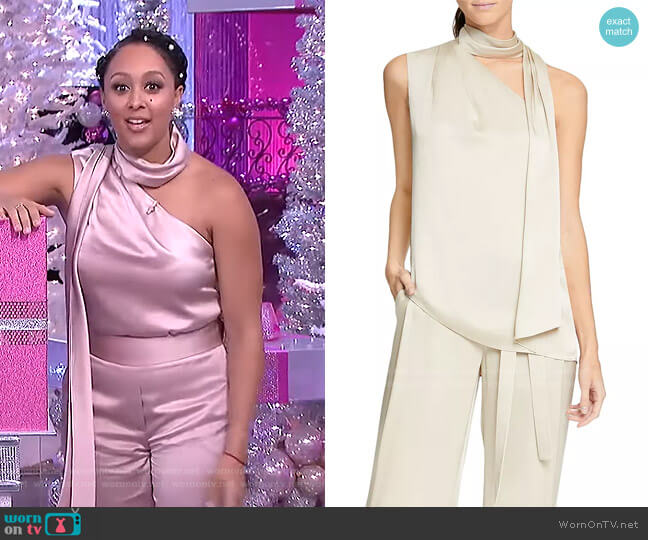 Scarf-Neck Top by Halston worn by Tamera Mowry  on The Real