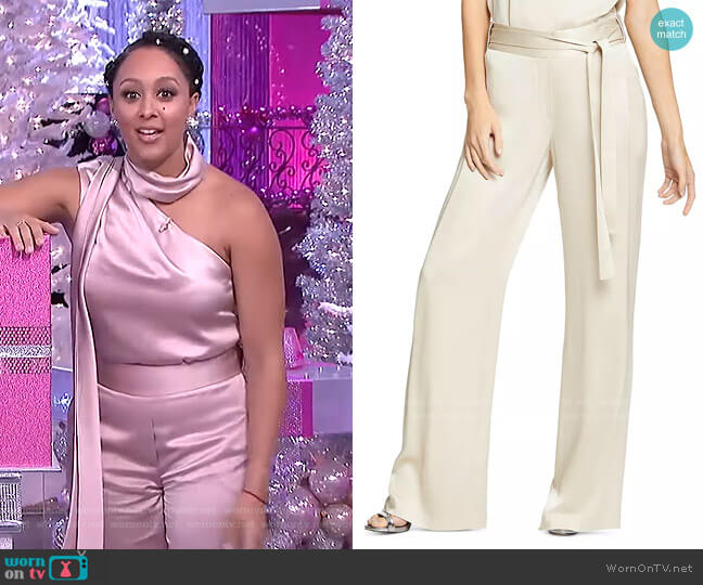Flowy Satin Pants by Halston worn by Tamera Mowry  on The Real