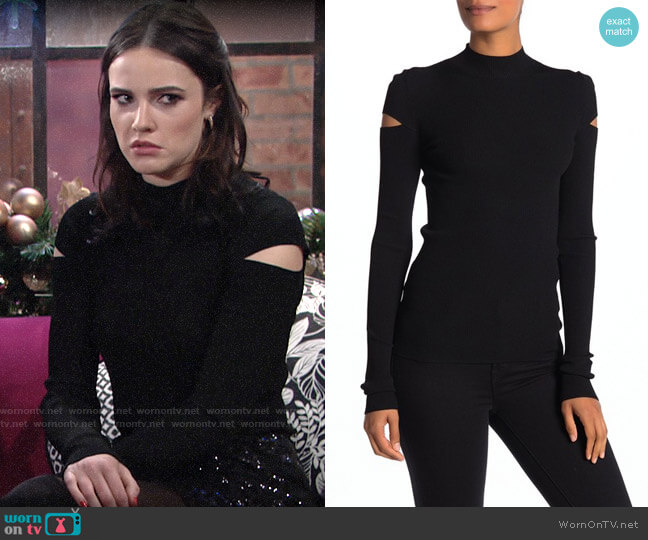 Helmut Lang Mock Neck Slash Sleeve Ribbed Knit Top worn by Tessa Porter (Cait Fairbanks) on The Young & the Restless