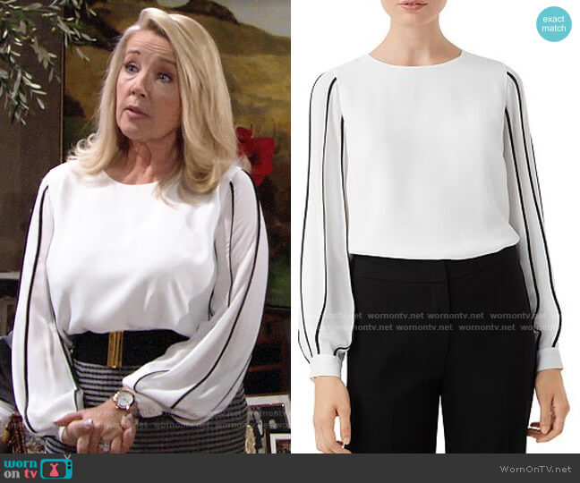 HOBBS London Aisha Blouse worn by Nikki Reed Newman (Melody Thomas-Scott) on The Young & the Restless