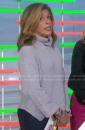 Hoda's grey zip-detail turtleneck sweater on Today