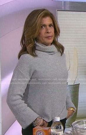 Hoda's grey zip-detail turtleneck sweater on Today