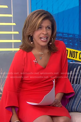 Hoda's orange contrast bell sleeve dress on Today