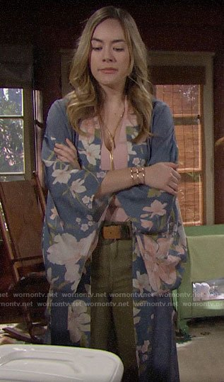Hope's blue floral kimono on The Bold and the Beautiful