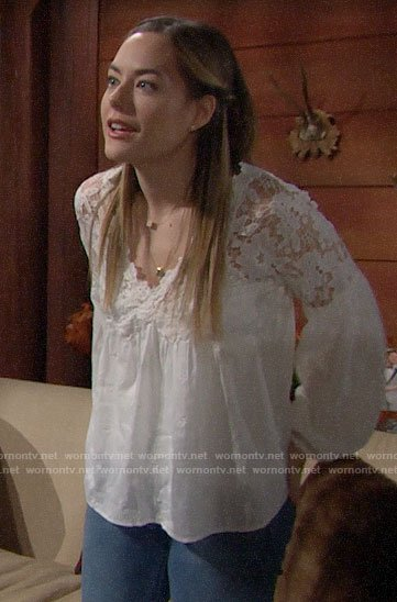 Hope's white lace long sleeve top on The Bold and the Beautiful
