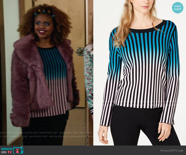 INC International Concepts Ombre Stripe Pullover Sweater worn by Kourtney (Dara Renee) on High School Musical The Musical The Series