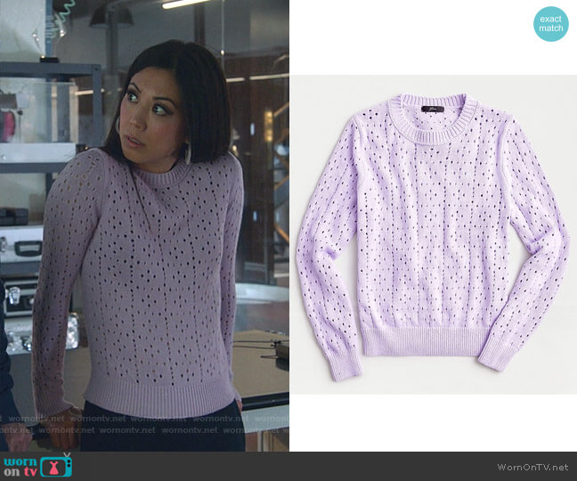 Point Sur Allover Pointelle Crewneck Sweater by J. Crew worn by Tina Minoru (Brittany Ishibashi) on Marvels Runaways
