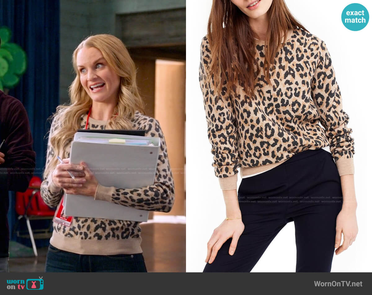 J. Crew Cheetah Print Merino Wool Sweatshirt worn by Miss Jenn (Kate Reinders) on High School Musical The Musical The Series