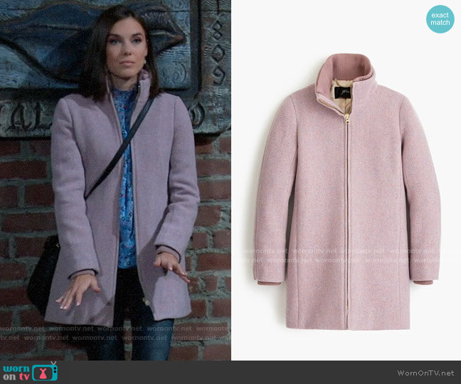 J. Crew Lodge coat in Italian stadium-cloth wool worn by Willow Tait (Katelyn MacMullen) on General Hospital