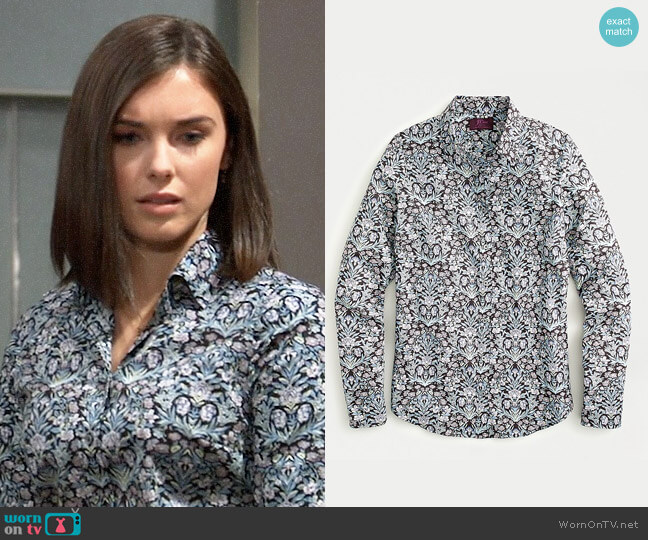 J. Crew Perfect shirt in Liberty Sea Grass Floral worn by Willow Tait (Katelyn MacMullen) on General Hospital