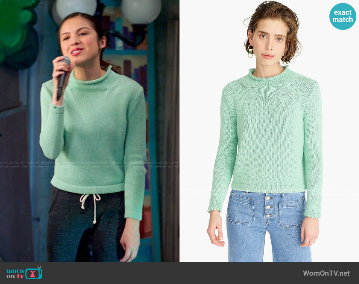 J. Crew 1988 Roll Neck Cropped Sweater worn by Nini (Olivia Rodrigo) on High School Musical The Musical The Series