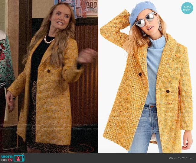 J. Crew Daphne Coat in Italian Tweed worn by Miss Jenn (Kate Reinders) on High School Musical The Musical The Series