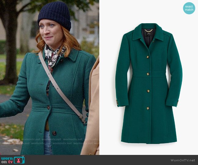 J. Crew Classic lady day coat in Italian double-cloth wool worn by Julia Bechley (Brittany Snow) on Almost Family