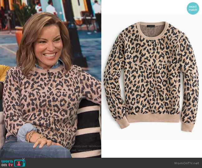 Merio Wool Crewneck Sweatshirt by J. Crew worn by Kit Hoover  on Access Hollywood