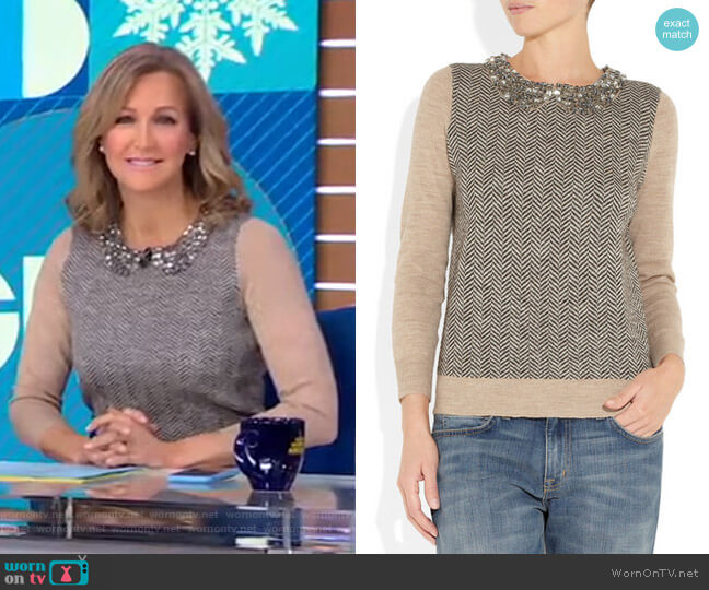 Crystal-Collar Herringbone Sweater by J. Crew worn by Lara Spencer  on Good Morning America